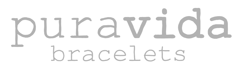 Logo with the words puravida bracelets in gray quirky typewriter style font