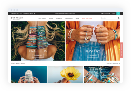 Screenshot example of pura vida website showing women wearing dozens of bracelets on arms and rings on fingers