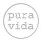 Gray square with black circle outline and inside the words pura vida in typeset font