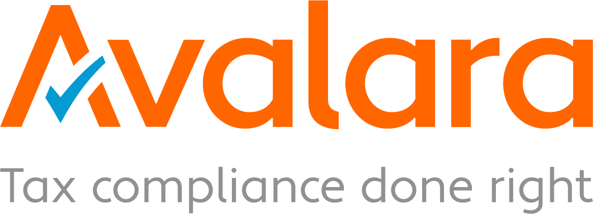 Orange lettering and blue checkmark for Avalara logo and the words tax compliance done right beneath