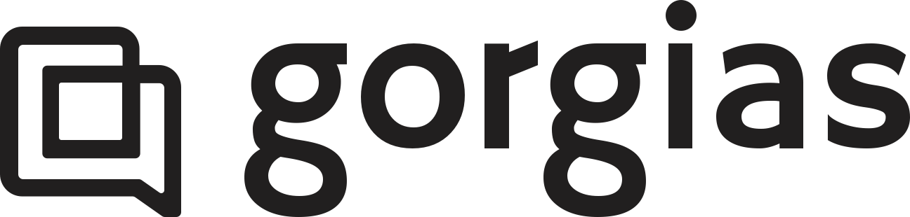 Two interlocked chat bubbles and pale gray lettering the word gorgias in all lowercase logo