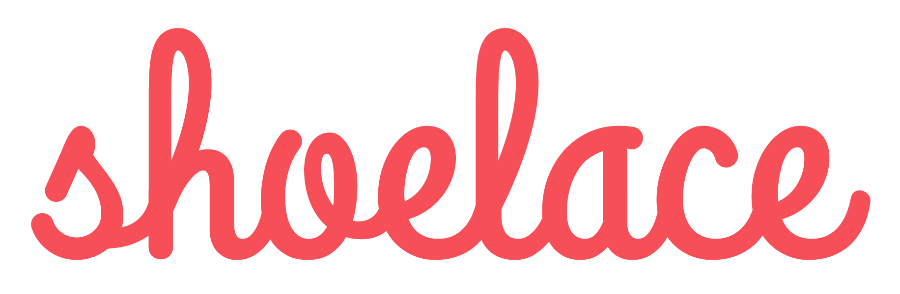 The word Shoelace logo icon in red cursive lettering