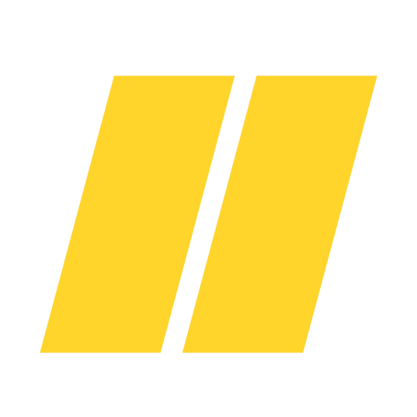 Two yellow oblong parallel rectangles leaning to the right with small space between them sovrn logo icon