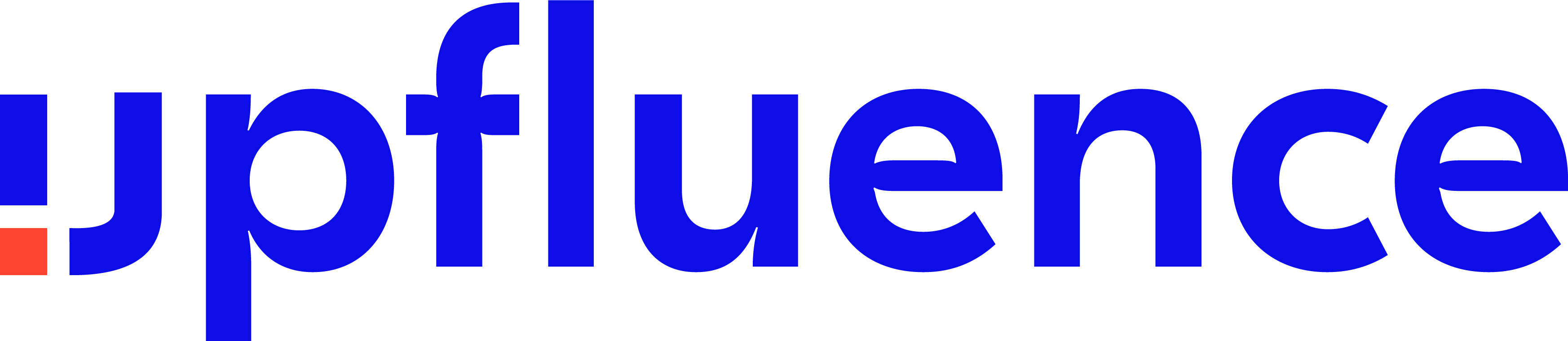 Bright blue lettering with one orange square in the first letter Upfluence partner logo
