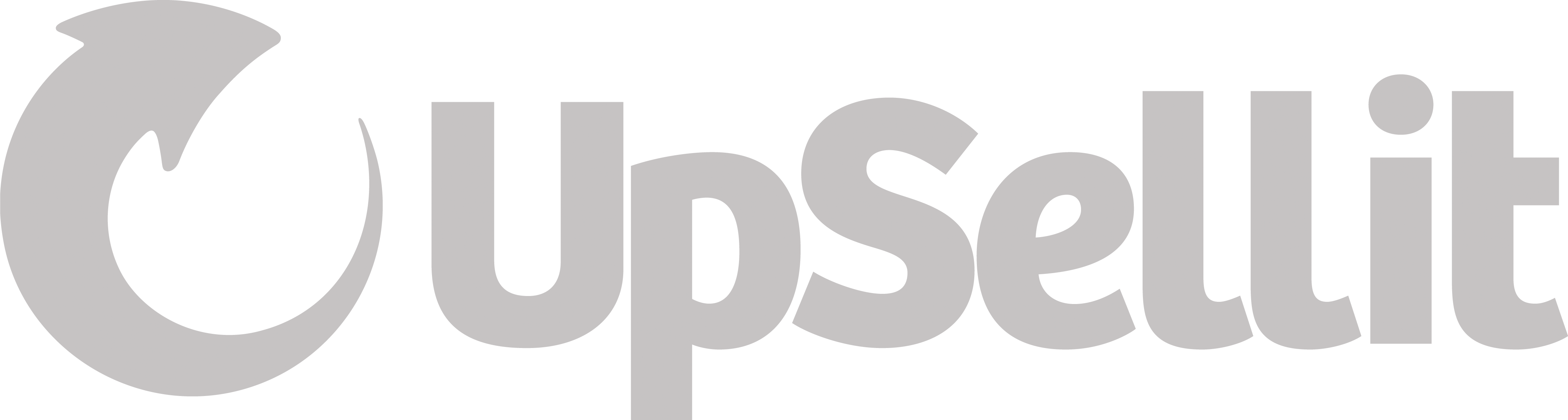 Pale gray logo of arrow curved to point upward and the word Upsellit