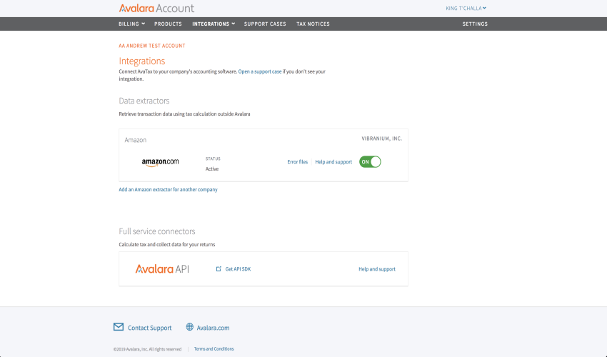 Webpage screenshot example Avalara dashboard integrations data extractors Amazon dot com active