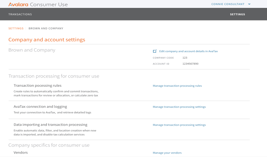 Webpage screenshot example of avalara integrations account dashboard consumer use overview settings