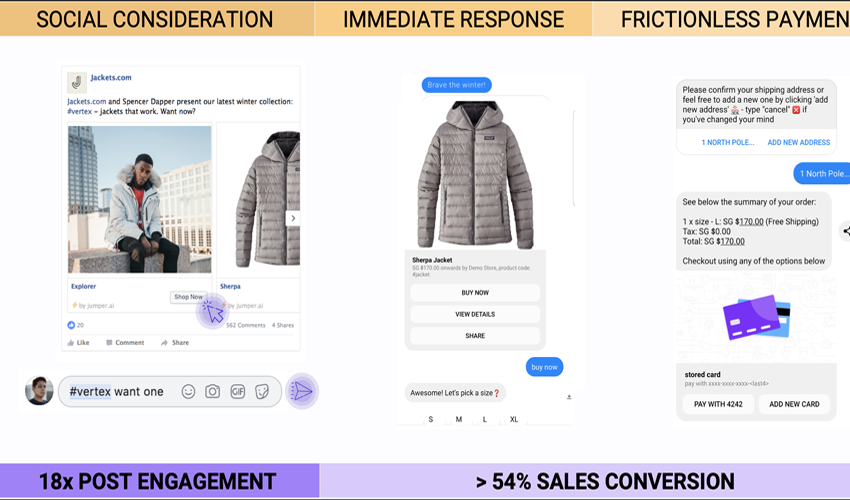 Webpage screenshot example of jumper dot ai instant messaging customer service interface transacting jacket purchase