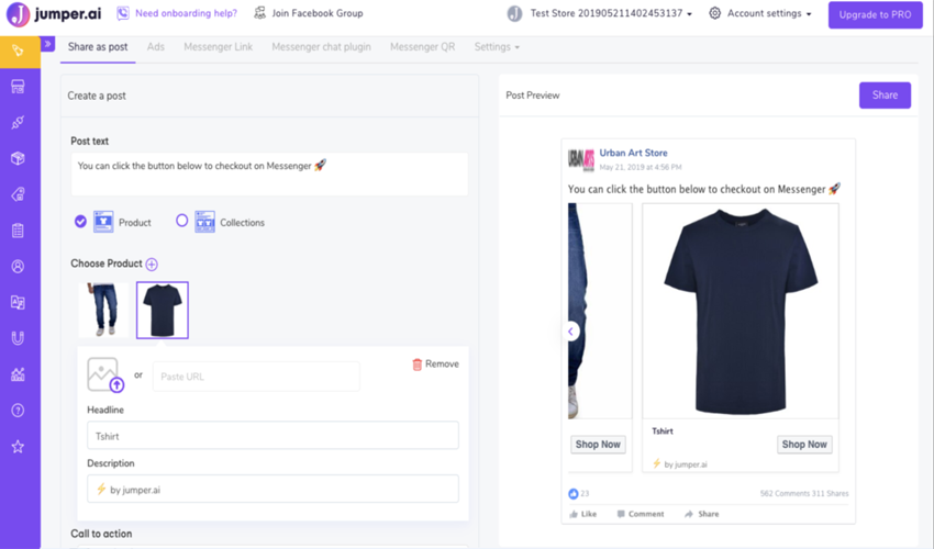 Webpage screenshot example of jumper dot ai messenger checkout help feature with men's black shirt