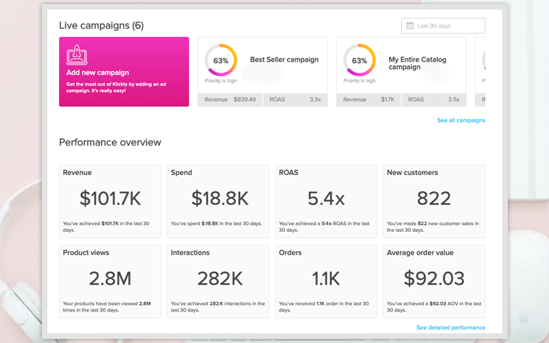 Webpage dashboard screenshot example of six live campaigns and the revenue statistics associated with them