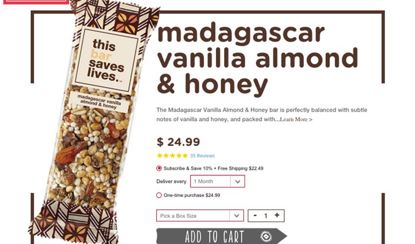 Webpage screenshot example of recharge integrations webpage showing madagascar vanilla bean almond and honey granola bar