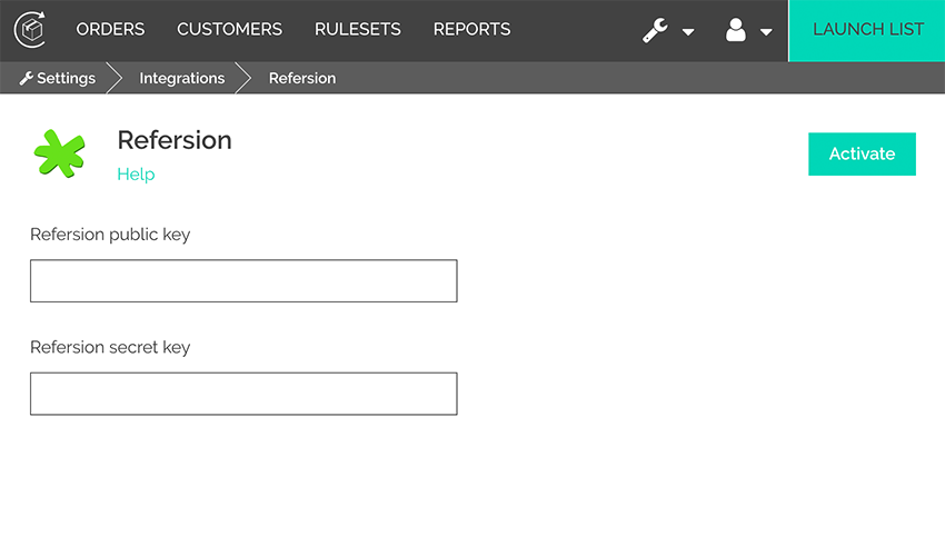 Screenshot webpage example of integration settings page with boxes for refersion public key and refersion private key