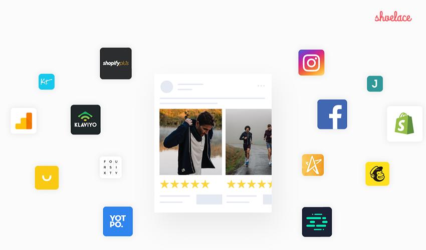 Webpage screenshot example of eCommerce platform logos shopify shoelace klaviyo yotpo mailchimp facebook instagram