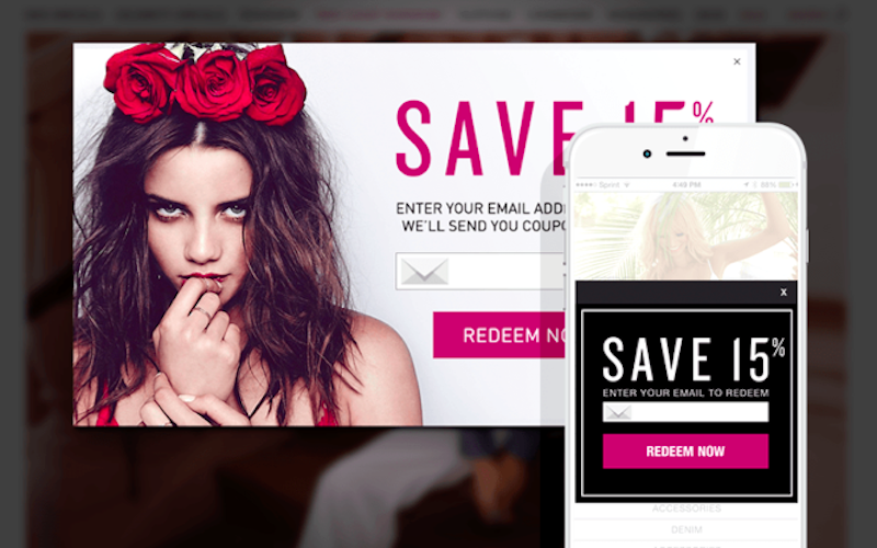 Webpage screenshot example of upsellit offer of 15% off for email address and smokey eyed rose crowned brunette girl