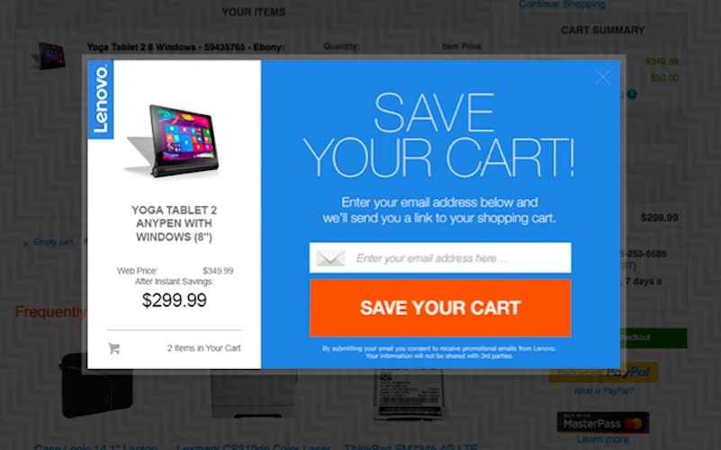 Screenshot example webpage save your shopping cart by entering email 2-in-1 tablet displayed Upsellit partner