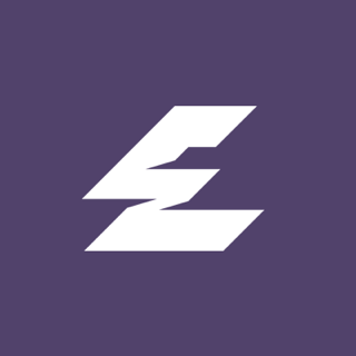 Purple background white zigzag lightning style letter E logo for Electric Eye