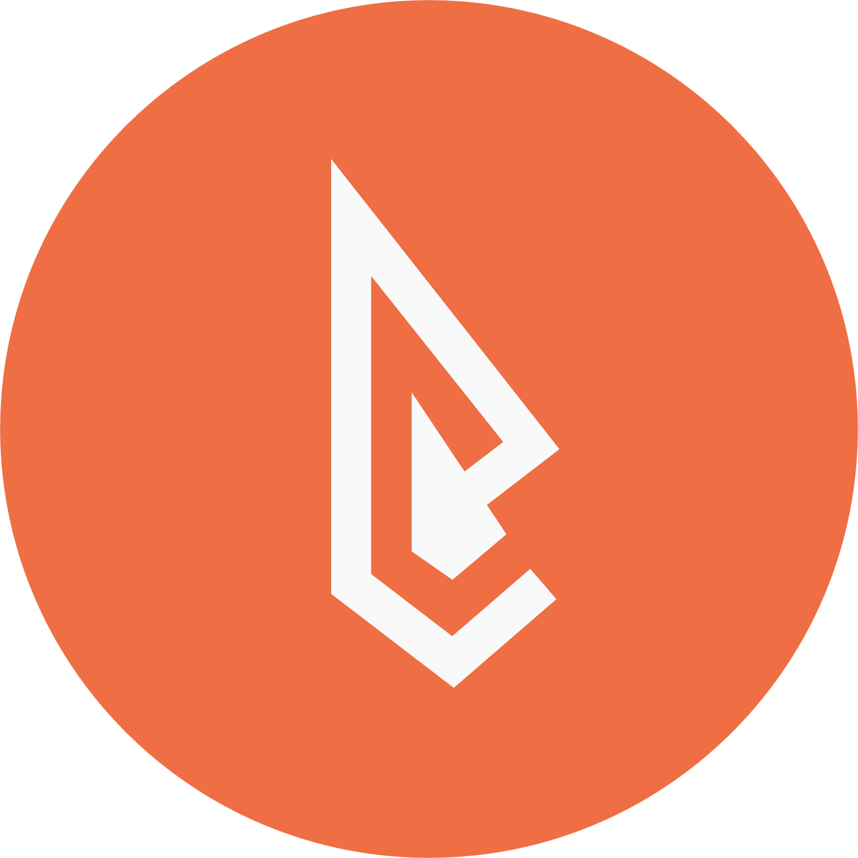 Large orange circle with a white arrowhead inside arrowhead based abstract design logo resembling letter e