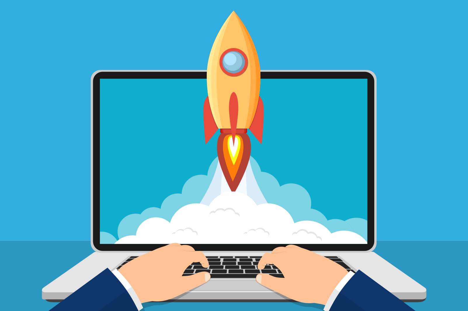 Clipart style image of a laptop with hands typing and a screen with rocket launching from inside it